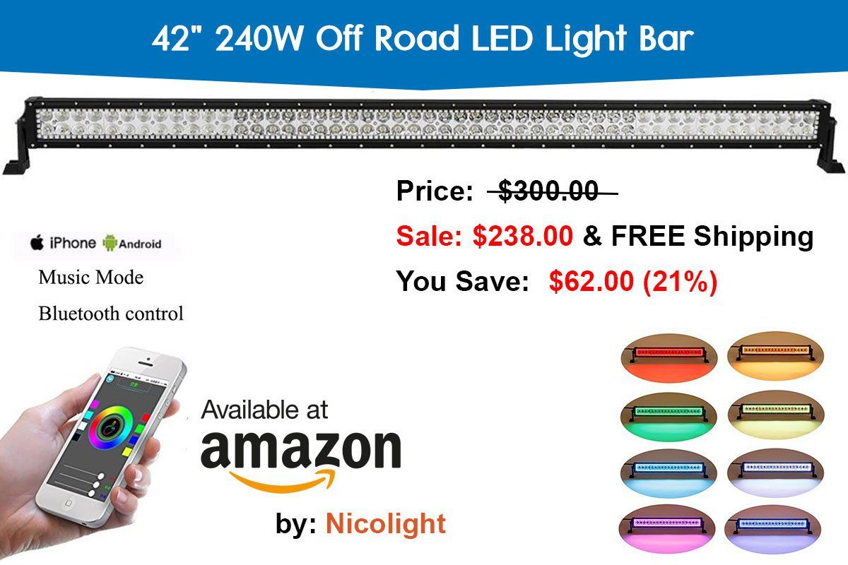 Nicoko Straight 42 240w Rgb Halo Led Light Bar With Bluetooth App Wiring Harness For 4 Off Road Lights Control Truck Car Exterior Wheeler Waterproof