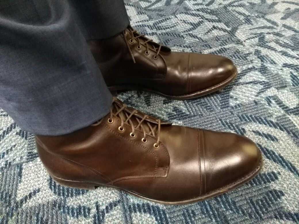 6b91c76eaa5 Allen Edmonds First Avenue Boots in Brown with Kenneth Cole NY Blue ...