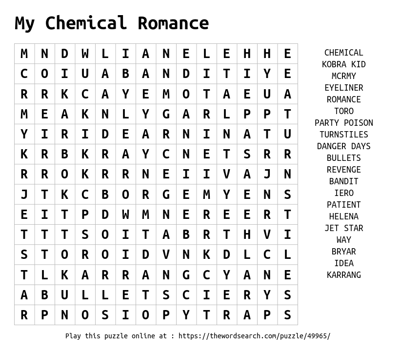 Play Word Search Puzzles On Line Including This One More At Https Thewordsearch Com Kids Word Search My Chemical Romance Word Search Puzzles