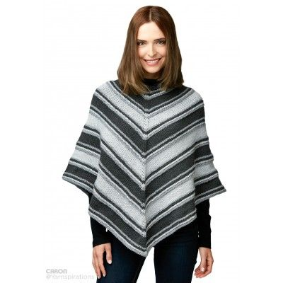 Free Easy Knit Poncho Pattern | Yarnspirations | Caron | Free ...