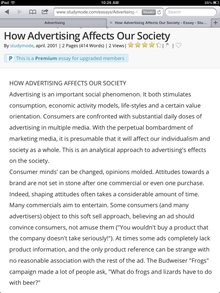 Http Www Studymode Com Essay Advertising Affect Our Society 31637 Html Argumentative