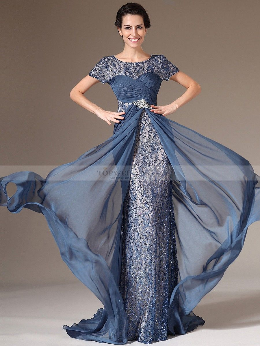 Short Sleeve Chiffon and Lace Sheath Mother of the Bride Dress ...