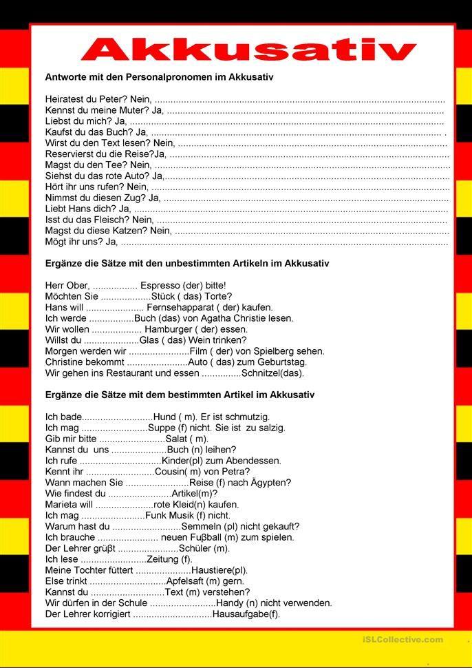 Willkommen auf Deutsch - Akkusativ | Almanca öğreniyorum-İch lerne ...