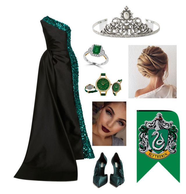 """""""Slytherin Prom Queen"""" by fashiongrayson ❤ liked on Polyvore featuring Elizabeth Kennedy, Balenciaga, 1928 and Effy Jewelry"""