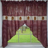 gingerbread curtains for kitchen | Gingerbread Swag Set - Berry Plaid Homespun - no valance between swag ...