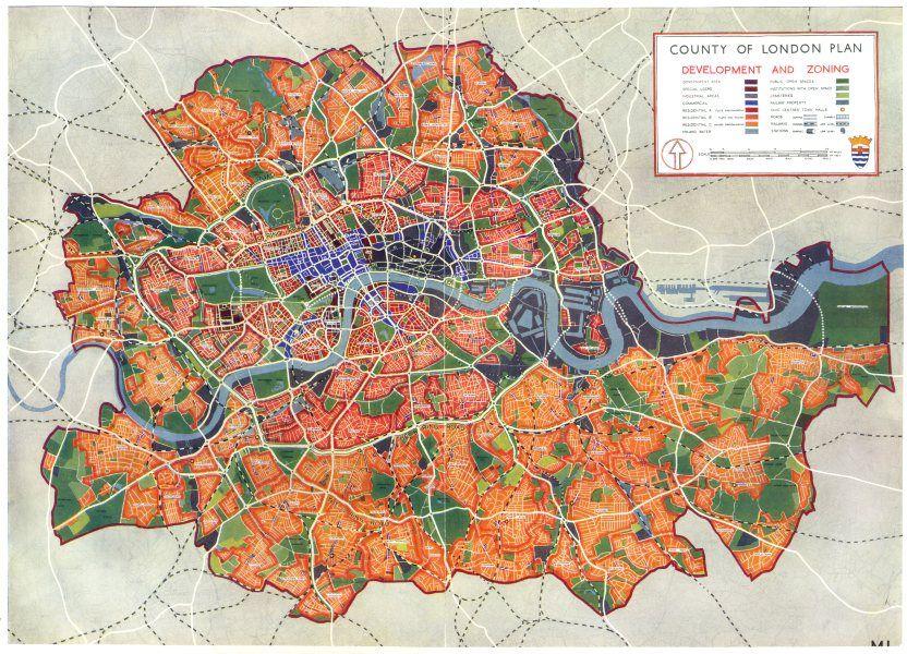 Mapa London%0A LONDON County of London plan development and Zoning      vintage map