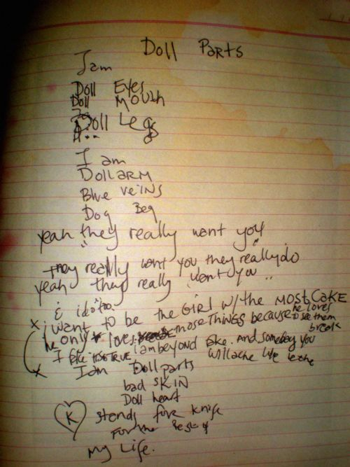 courtney love wrote doll parts in boston in the early 90s she said