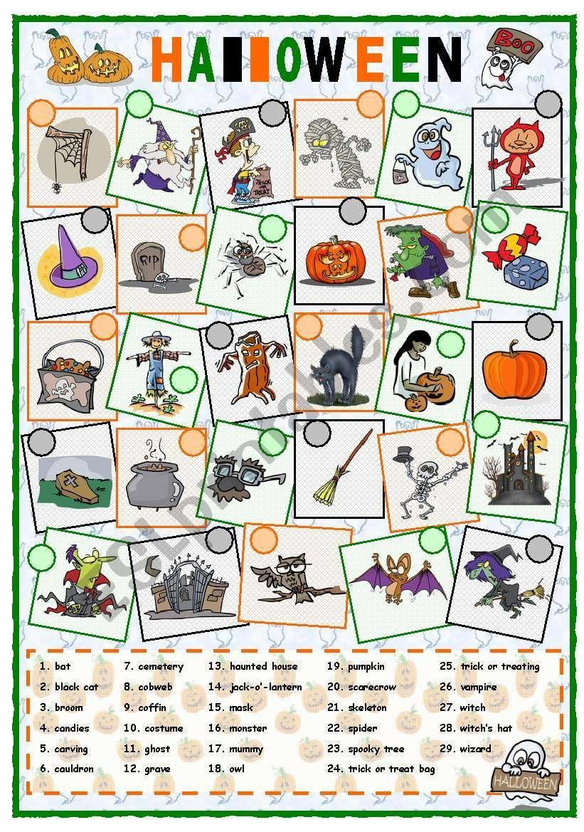 A worksheet about vocabulary related to Halloween