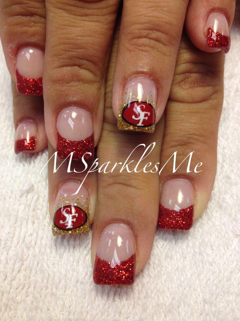 49er Nails Swanky Nail Studio Pinterest Nails 49ers Nails And