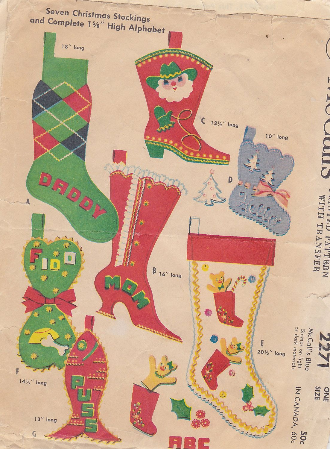 1950s Christmas Stockings Vintage Pattern Stockings Boots Cowboy