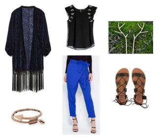 Cobalt Blue Pants Black Shirt Black Cardigan Sandals Gold