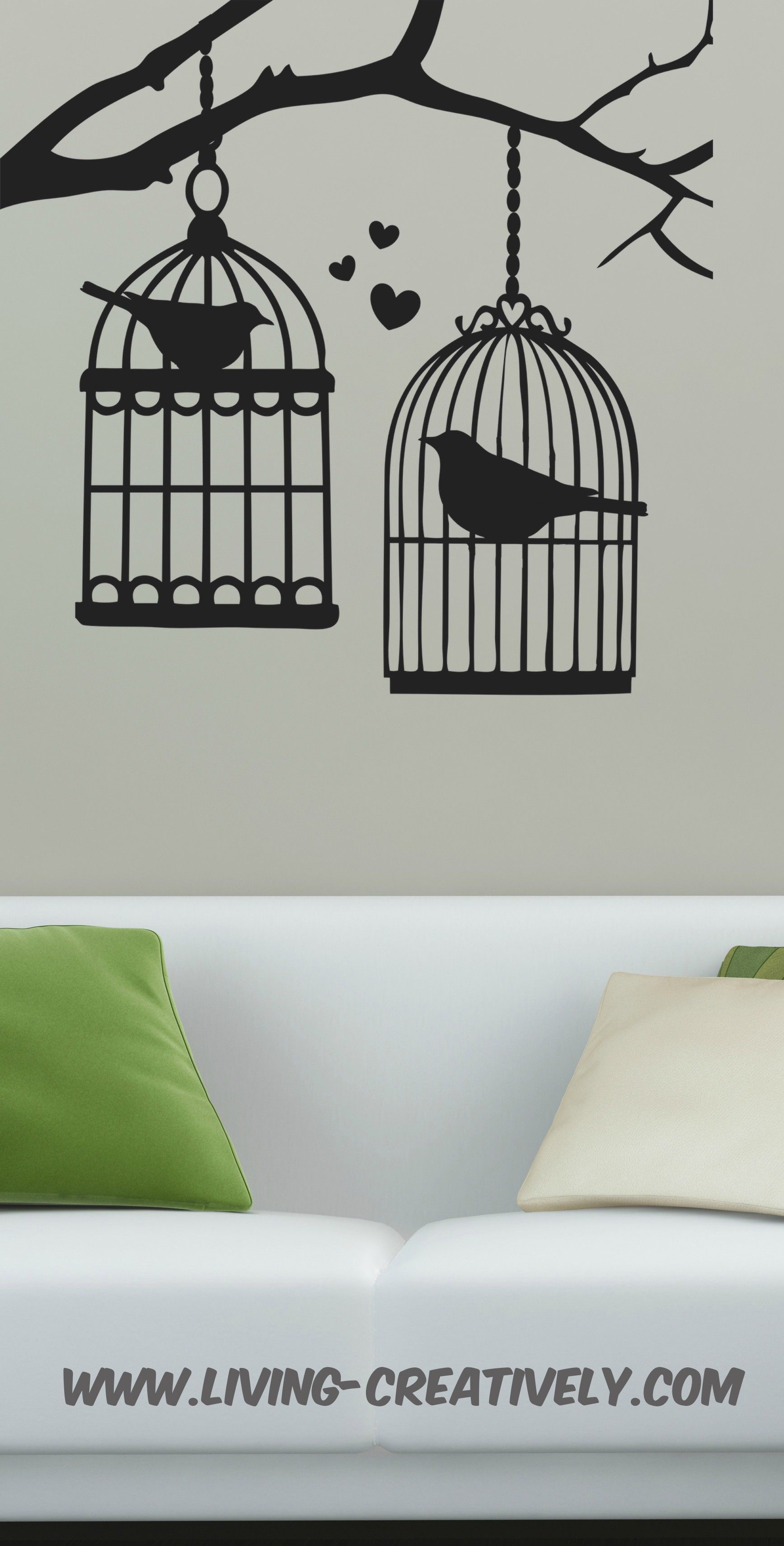 5a37cc773 This Love BIRD Bird cages Wall art DECAL is a fun way to add interest to
