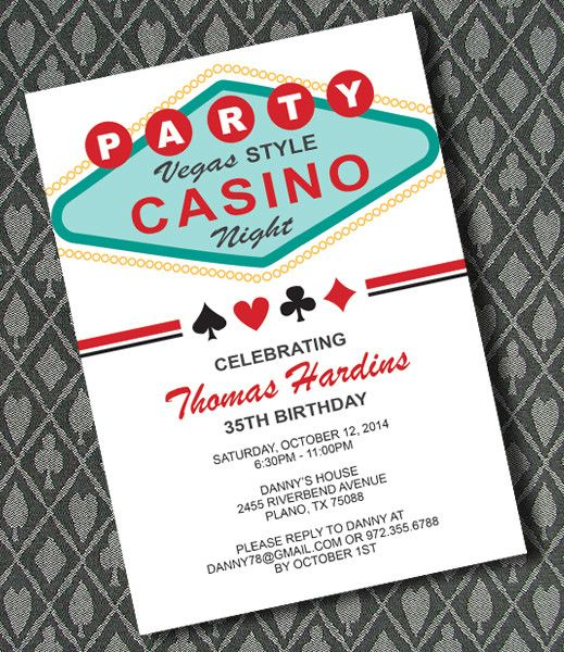 Casino Theme Party Invitations Template