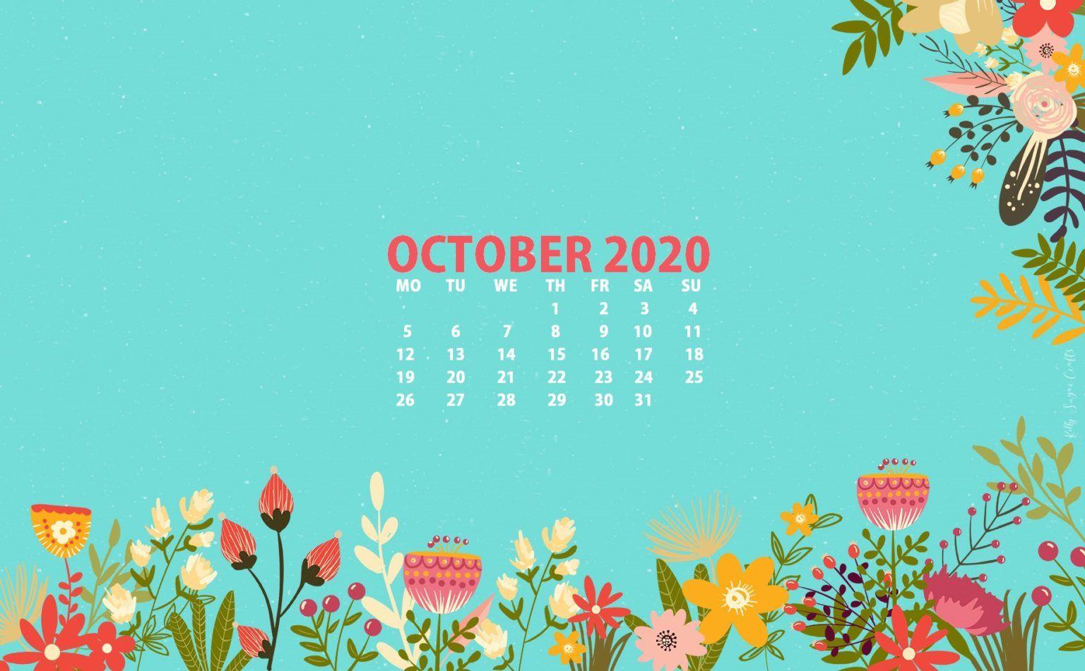 Floral October 2020 Wallpaper In 2020 Calendar Wallpaper October Wallpaper Desktop Wallpaper Calendar