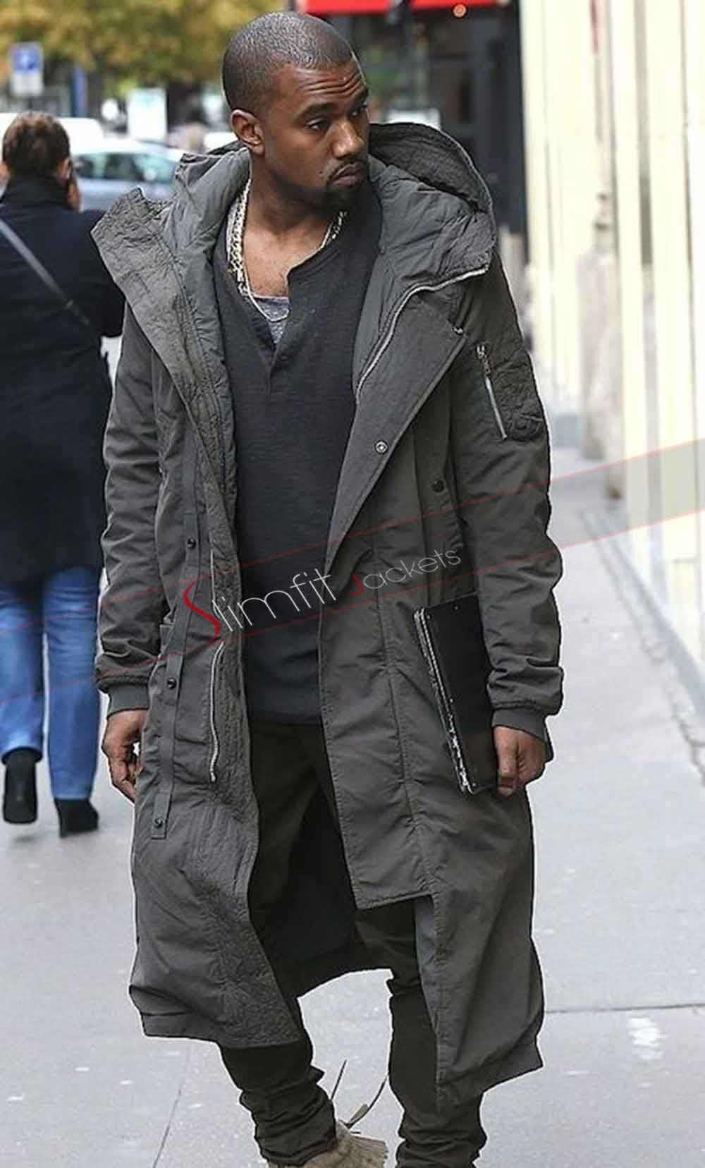 af5f12387a446 Kanye West Stylish Long Grey Coat in 2019