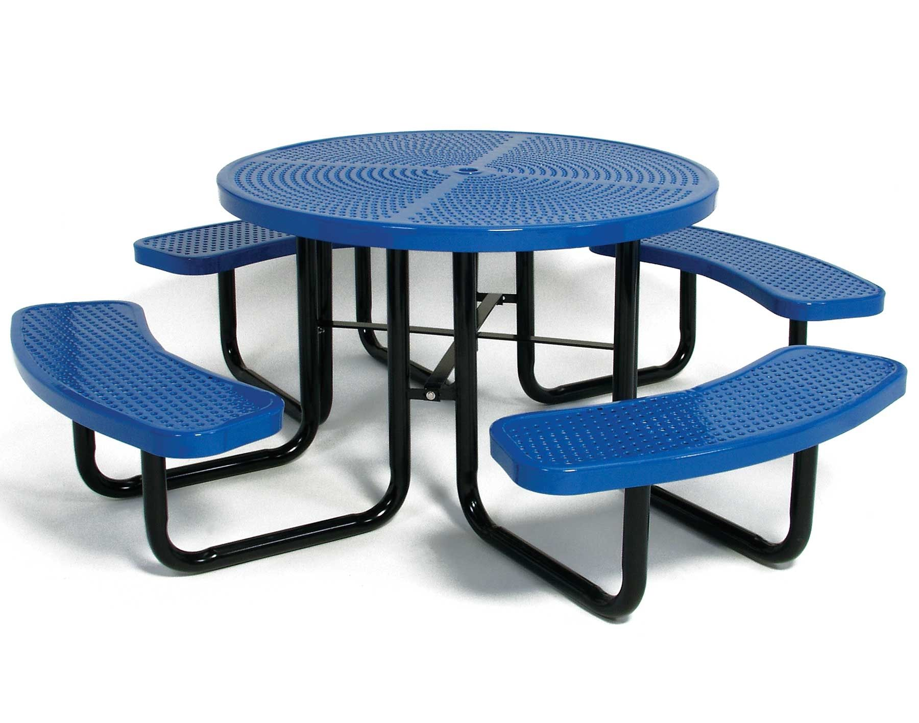 Round perforated metal picnic table