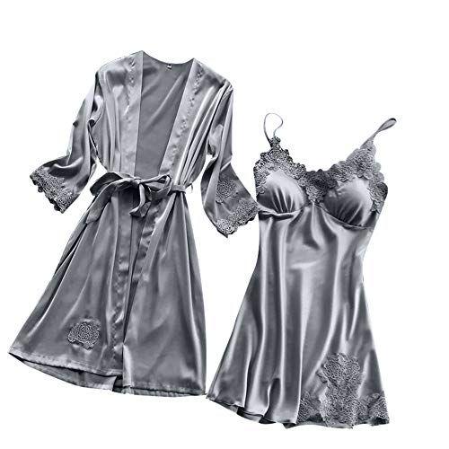 372990a9f272d NINGSANJIN-Lingerie Femme Chic Peignoir Soie Dentelle Robes Robe Nuisette  Chemise Vêtements De Pyjama Kimono Ensemble 2pcs