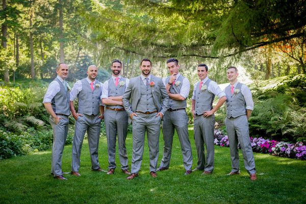 Summer groomsmen outfit idea - light gray vests + slacks with coral neckties {Heidi & Heather Wedding Photography}