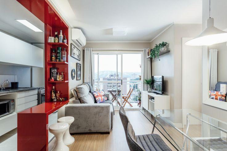 Apartamento de 44 m² perfeito para receber os amigos e relaxar - departamento de soltero moderno pequeo