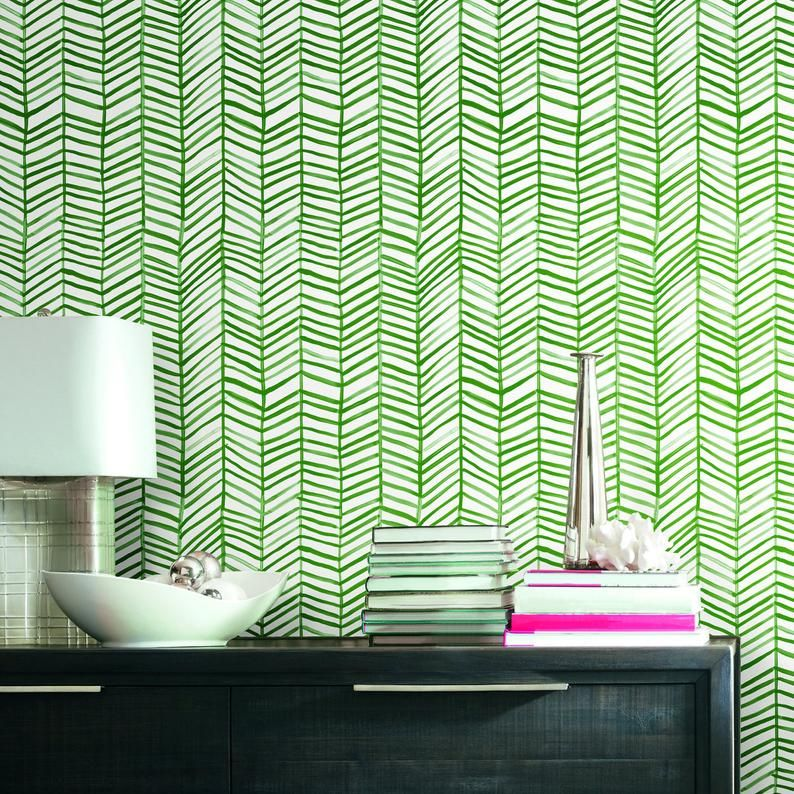 Cat Coquillette Green And White Herringbone Peel And Stick Etsy In 2021 Peel And Stick Wallpaper Geometric Pattern Wallpaper Stick On Tiles