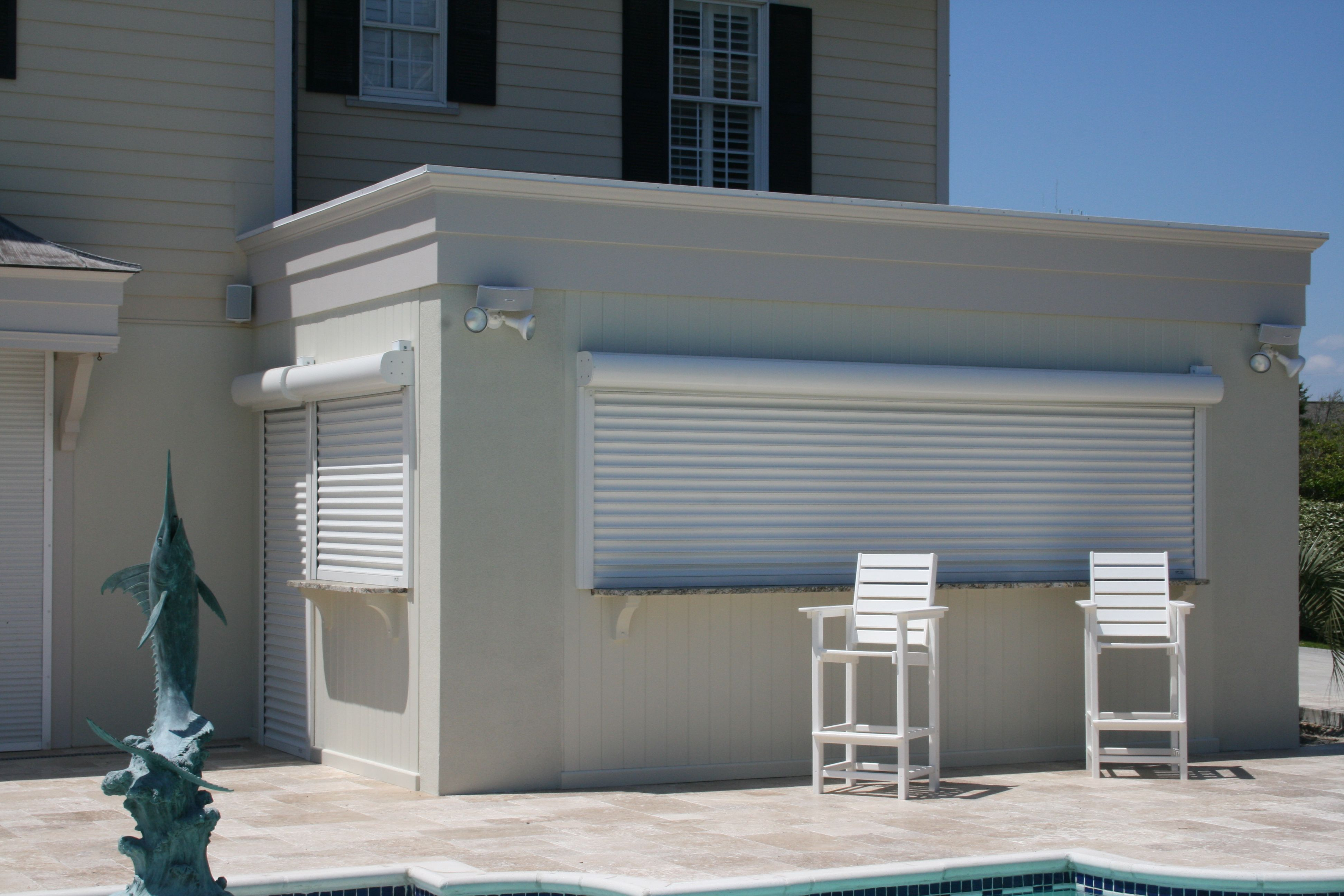 Tiki Bar With Qmi Shutters Garage Doors Prices Garage Doors