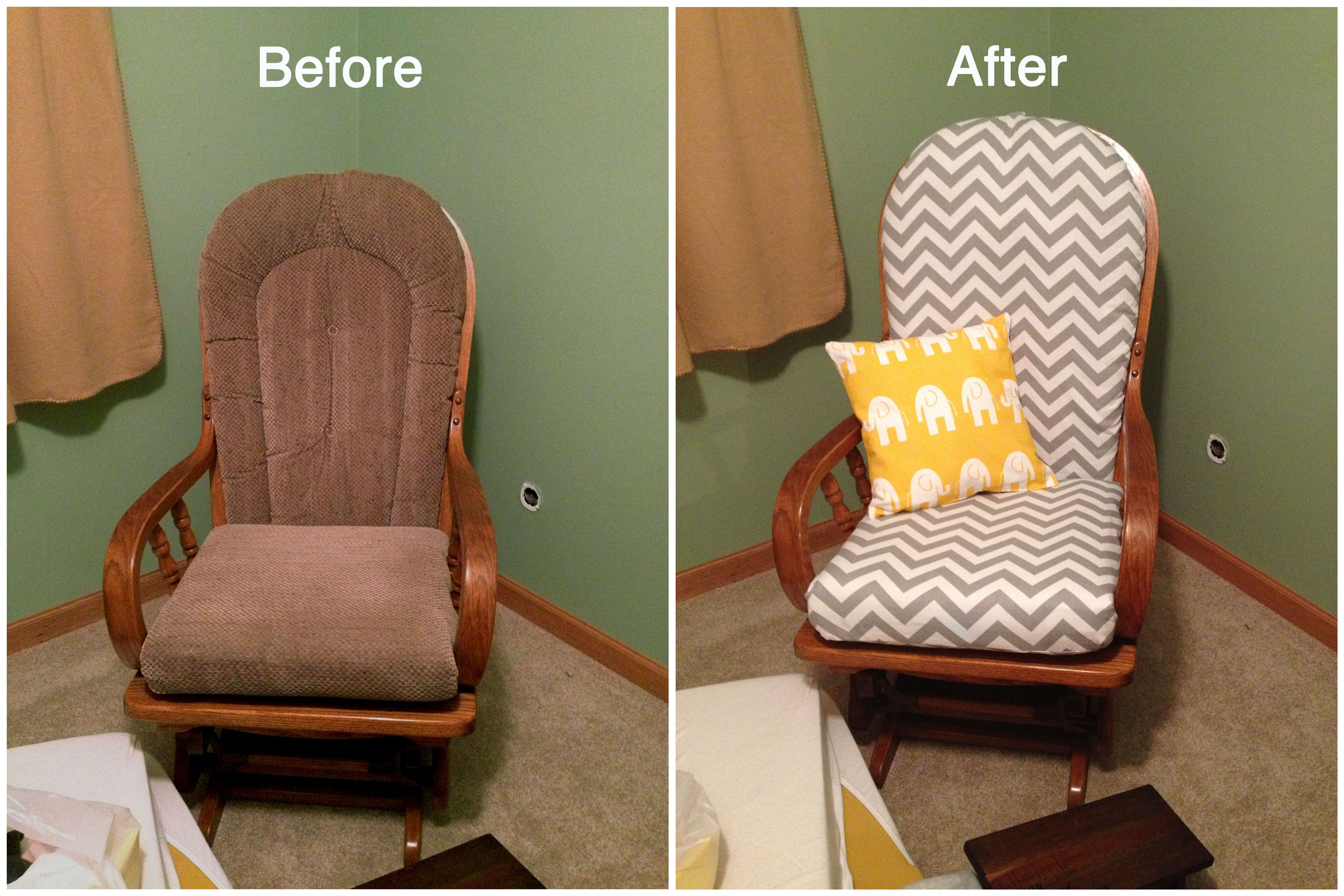 how to recover glider rocking chair cushions gaming chairs walmart recovered my and i made the pillow too she 39s