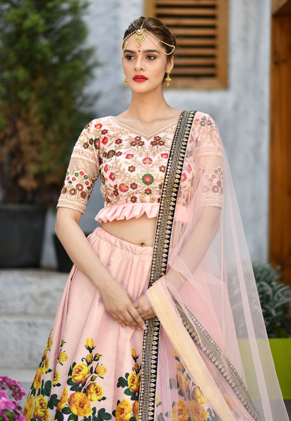 Buy peach color silk indian wedding lehenga choli in uk