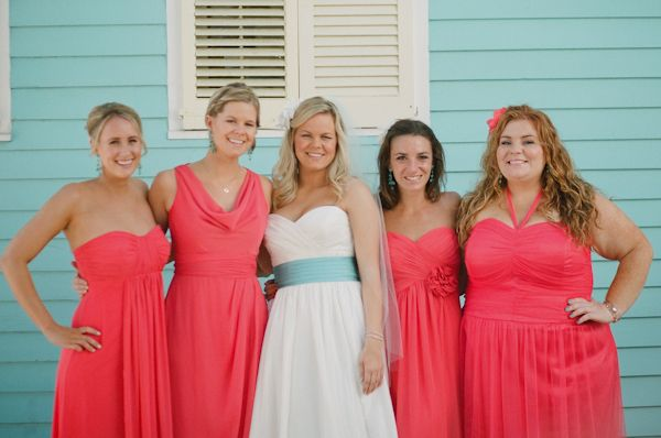coral bridesmaid dresses | photo by Kat Braman | Colorful Wedding ...