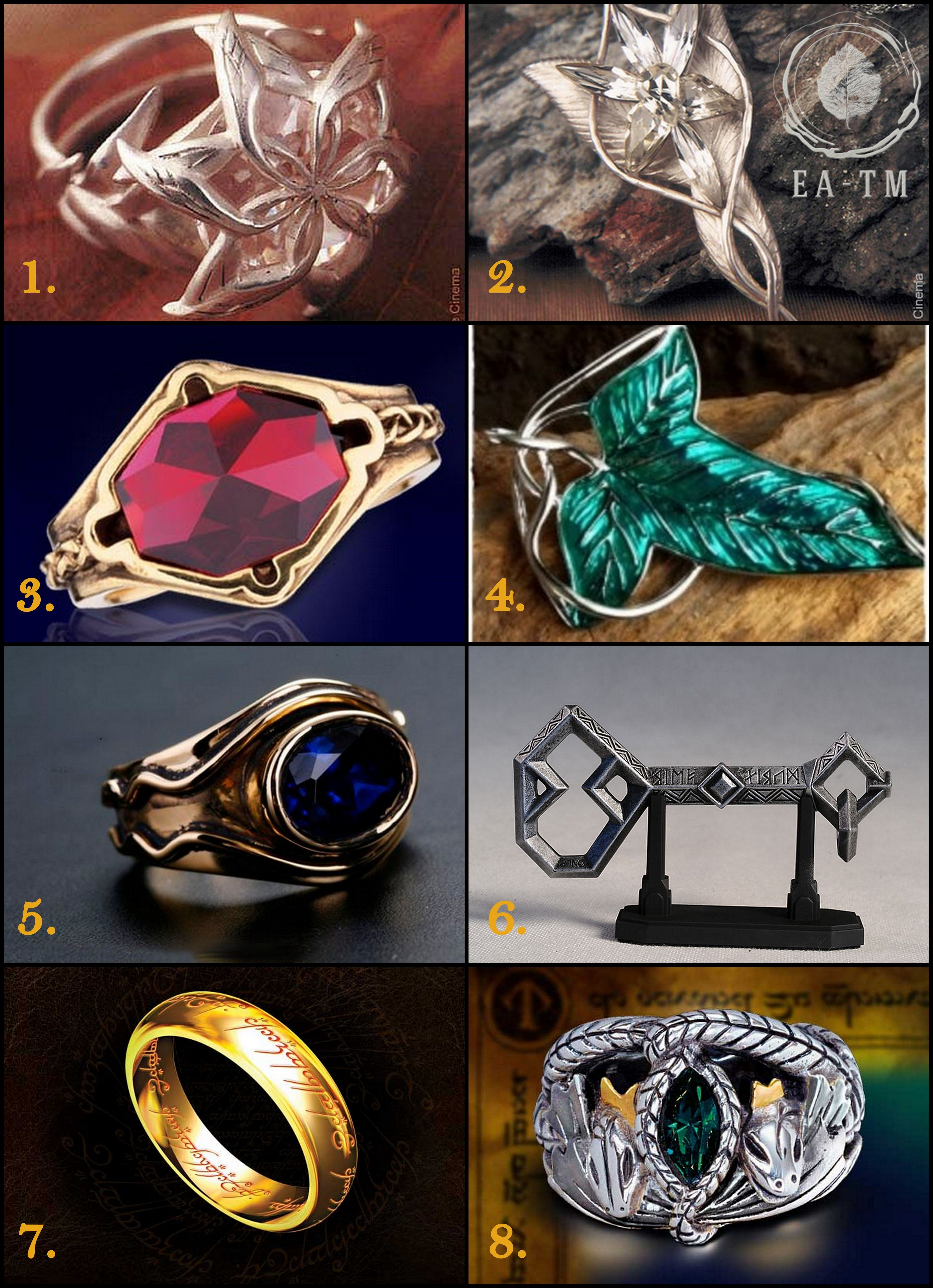 Middle Eart Rings And Jewels 1 Nenya 2 Evenstar 3