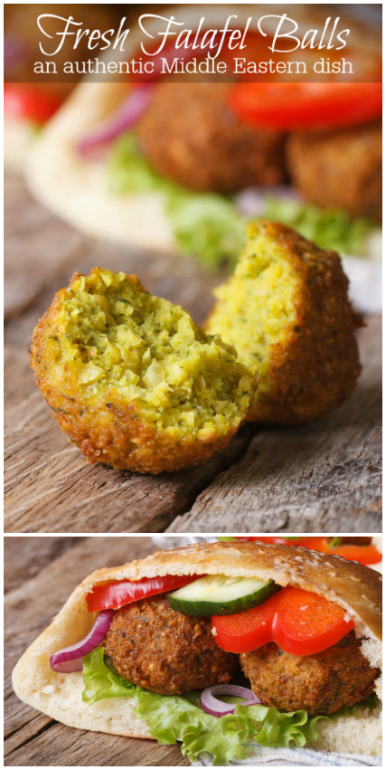Fresh falafel balls are an authentic middle Eastern dish made from chickpeas and deep fried to perfection. Stuff them in a pita with veggies for a meal or eat alone for an appetizer. Bakerette.com