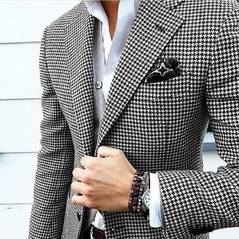 Mens Checkered Suit Houndstooth Custom Made Men Dress ...