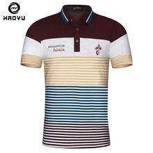 Homens do Polo camisa 100% algodão de manga curta carta Logo famosa marca  magro gradiente 82d59e0719d2f