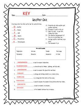 Weather Quiz #1 by SarahKhodirev | Teachers Pay Teachers