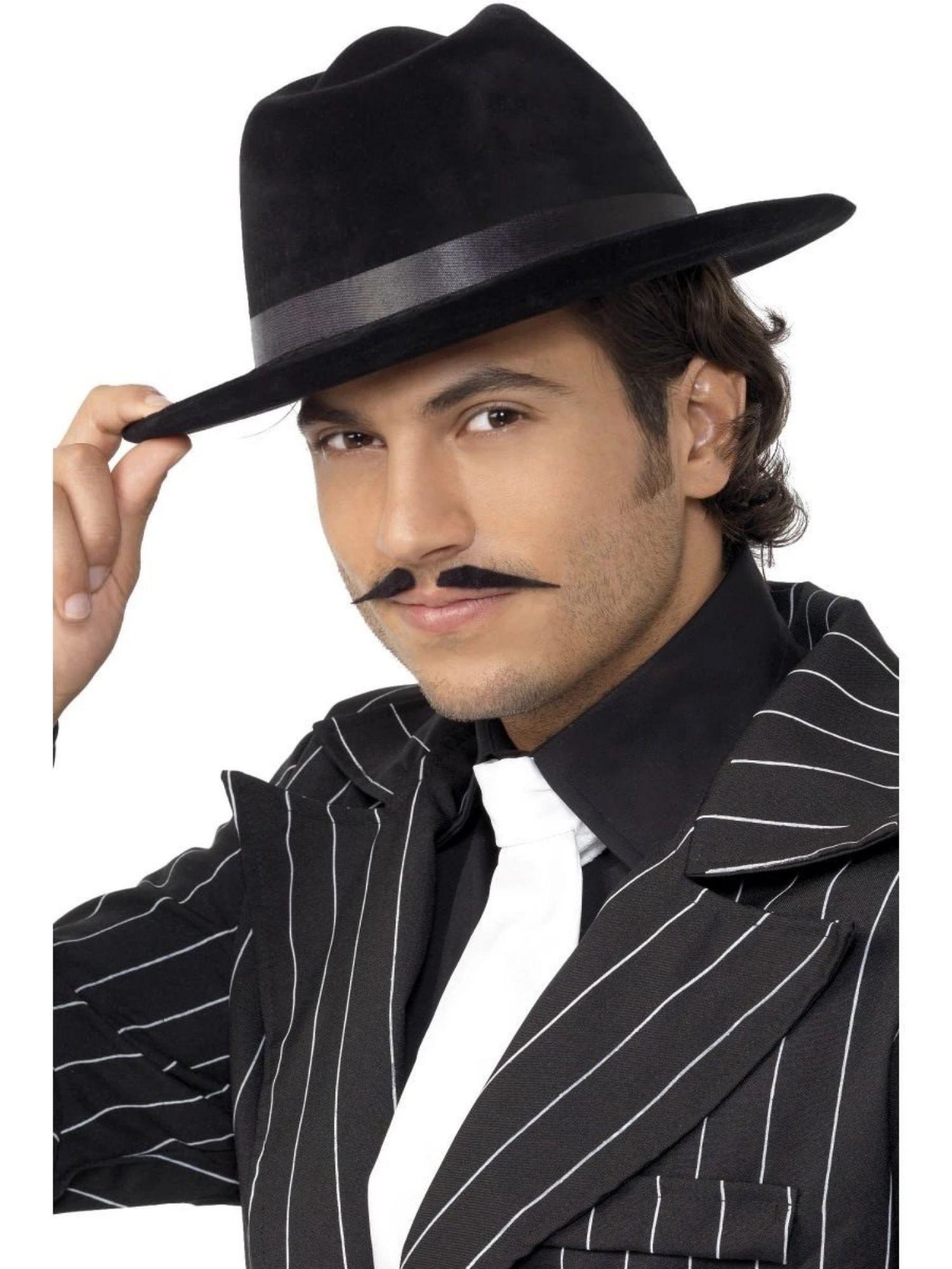 20s Mens Gangster Black Fedora Hat Fancy Dress Costume