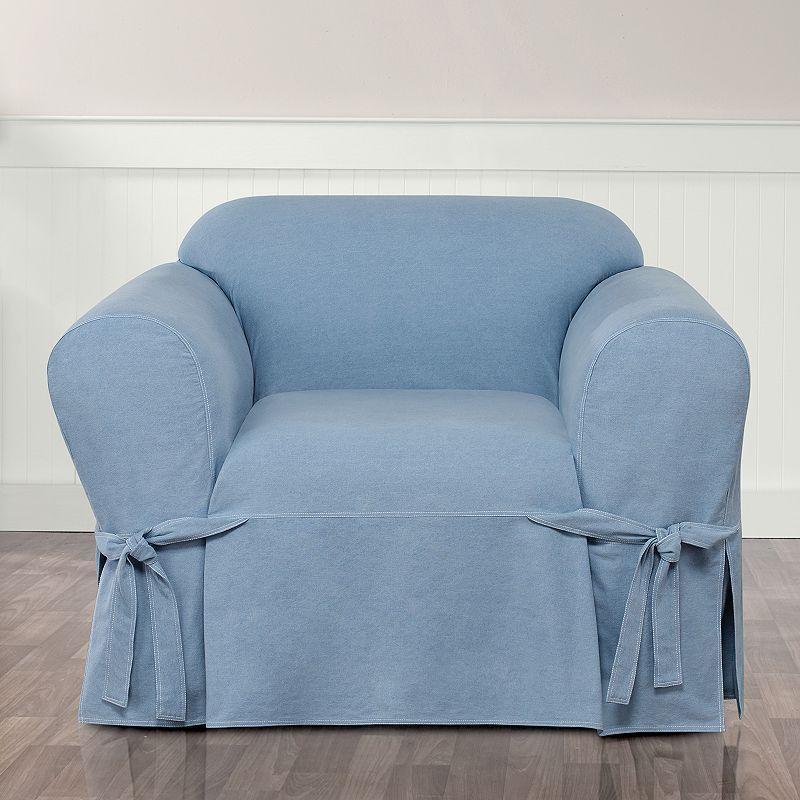 Sure Fit Authentic Denim Chair Slipcover Blue