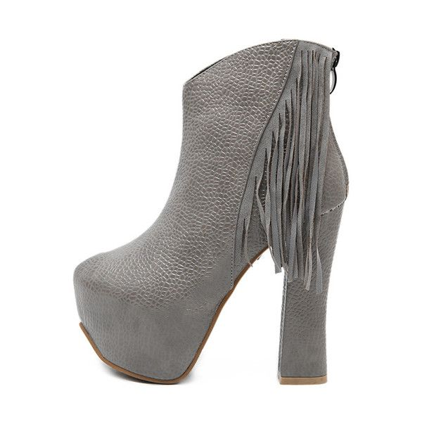 2d9d9e42bdd Gray Textured Pu Tassel Decor Platform Chunky Heel Booties ( 34) ❤ liked on  Polyvore featuring shoes