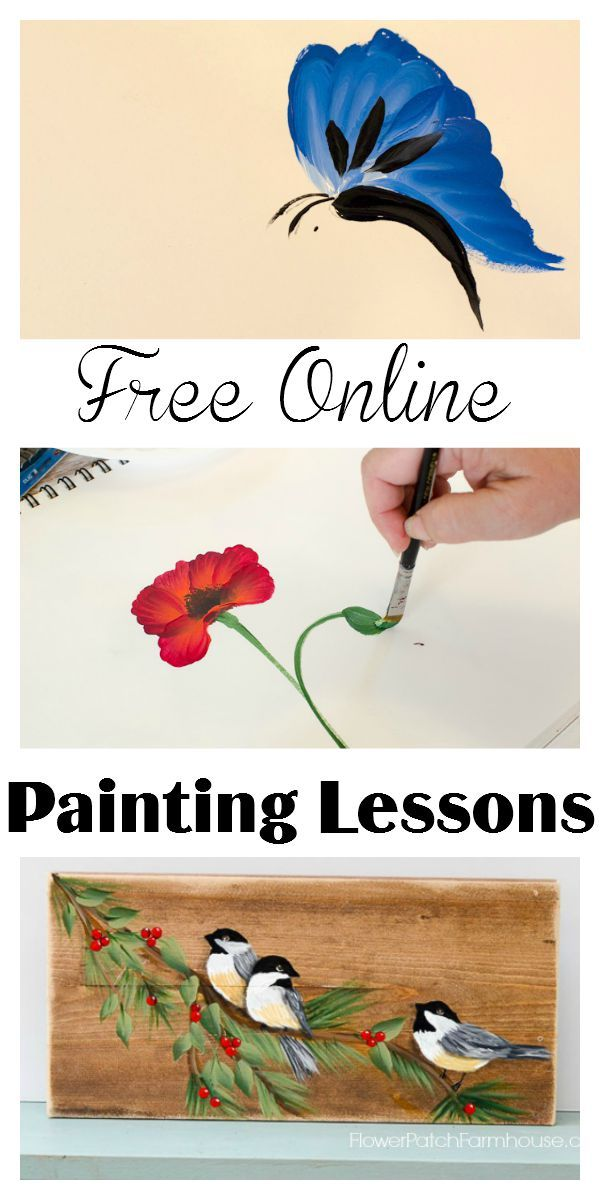 Easy Free Online Painting Lessons Tutorials Online Painting Painting Lessons Flower Painting