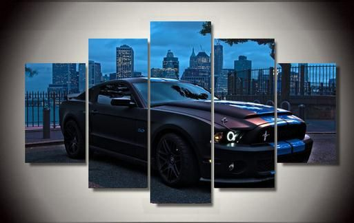 Wholesale 5 Panel Large Hd Printed Oil Painting Ford Mustang Poster Canvas Print Home Decor Wall Art Pic Canvas Pictures Childrens Room Decor Canvas Wall Decor