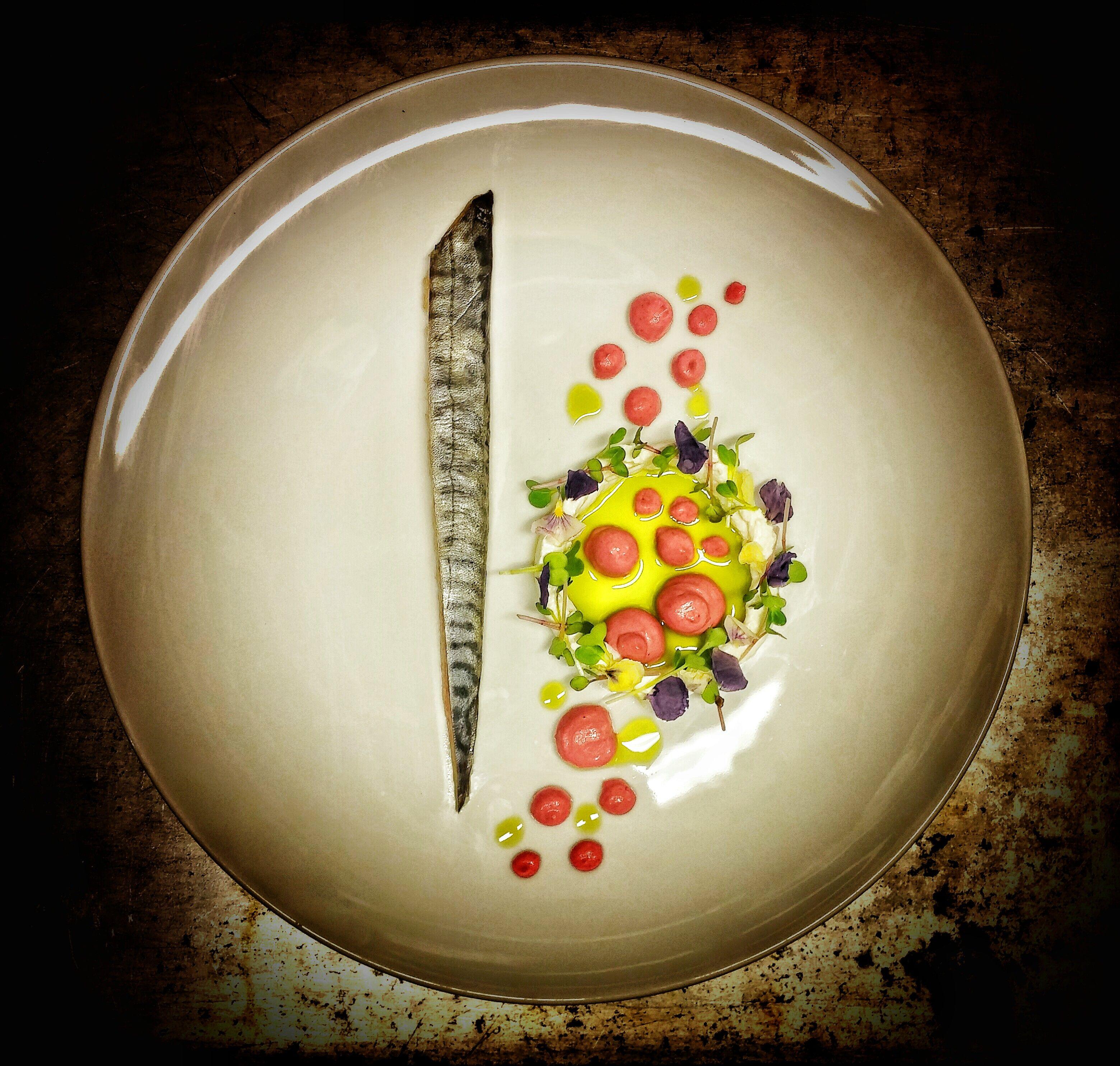 Mackerel In Vinegar | Beet Aioli | Horseradish Cream | Chive Oil