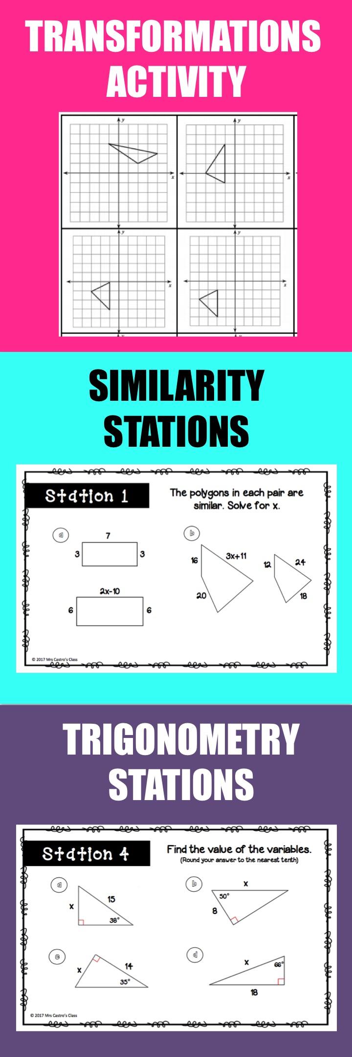 Geometry Activities Bundle | Trigonometry, High school and Activities