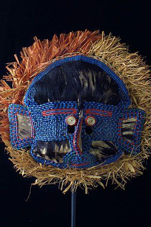 Kwango mask Yaka, (Democratic Republic of the Congo). - Animal skin, cloth, beads,  9 inches.