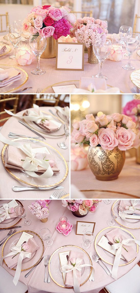 a feminine elegant baby shower in pink and gold on to baby