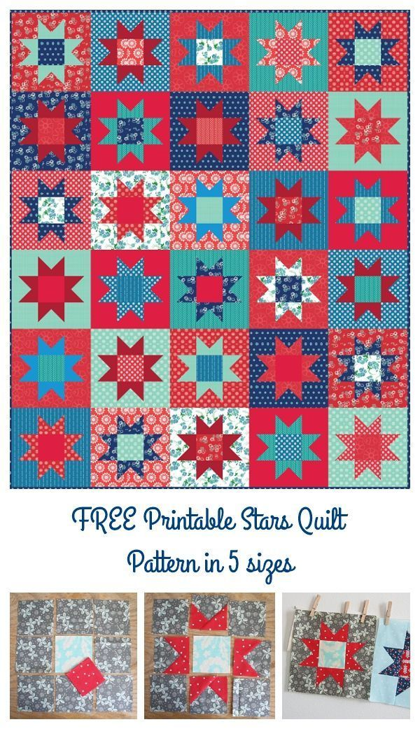 No Point Stars A Free Printable Pattern In 5 Sizes Quilting