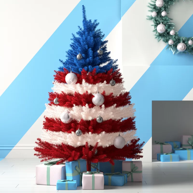 Hashtag Home Patriotic 5 American Red Blue White Pine Artificial Christmas Tree With Wa Blue Christmas Tree Artificial Christmas Tree Patriotic Christmas Tree