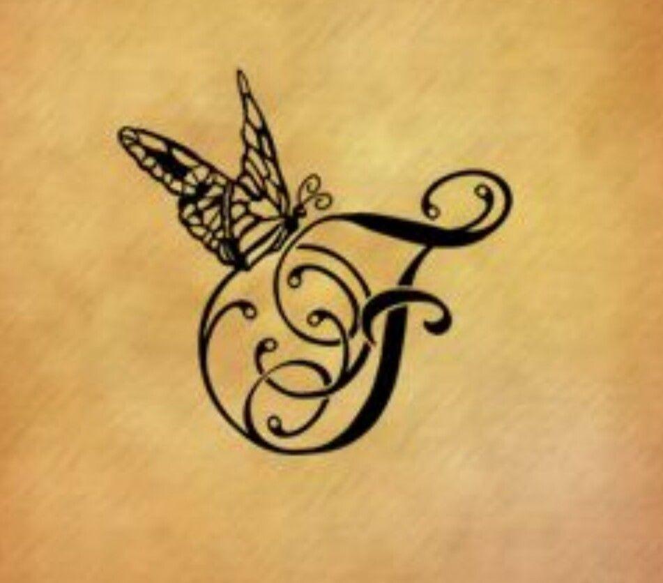 Butterfly With A J Tattoo Lettering F Tattoo Tattoos