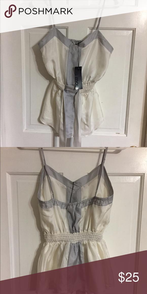 Ella Moss shirt sz S Pretty cream and light gray tank shirt in sz S by Ella Moss. Elastic waist with tie straps. NWT Ella Moss Tops Tank Tops