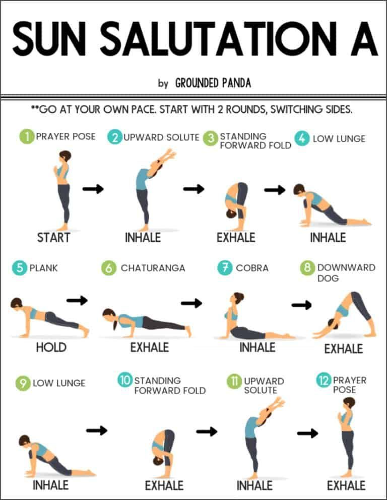 Learn How To Do The 12 Poses Of Sun Salutations Beginner Friendly This Is A Wonderful Flowing Sequen Yoga Routine For Beginners Yoga Flow Sequence Yoga Moves