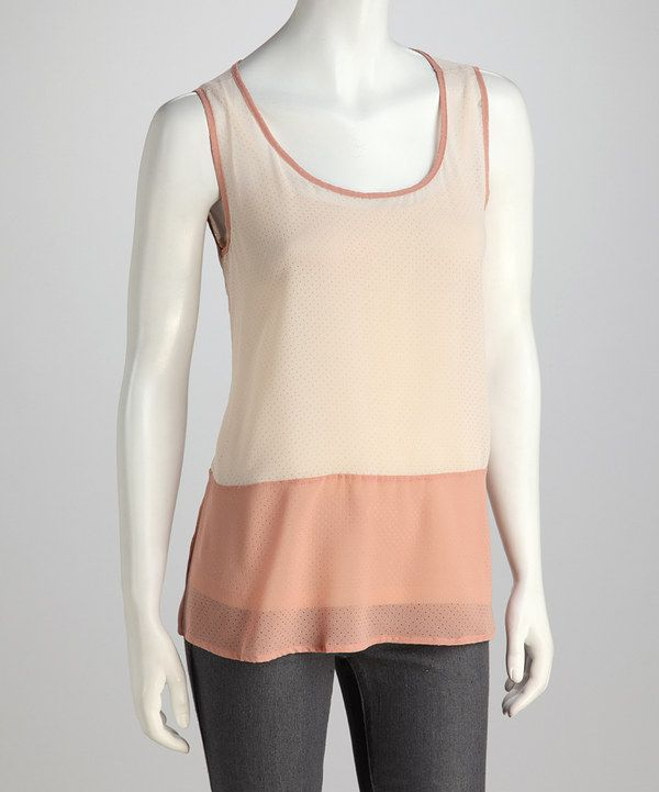 Take a look at this Mystree Light Taupe & Dark Pink Tank on zulily today!