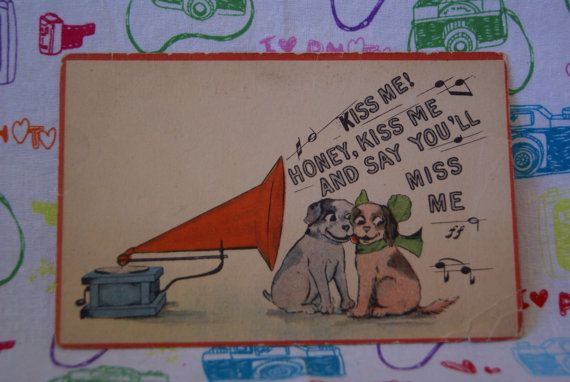 Vintage Postcard with Dogs Listening to by mandtsimplyvintage, $8.00