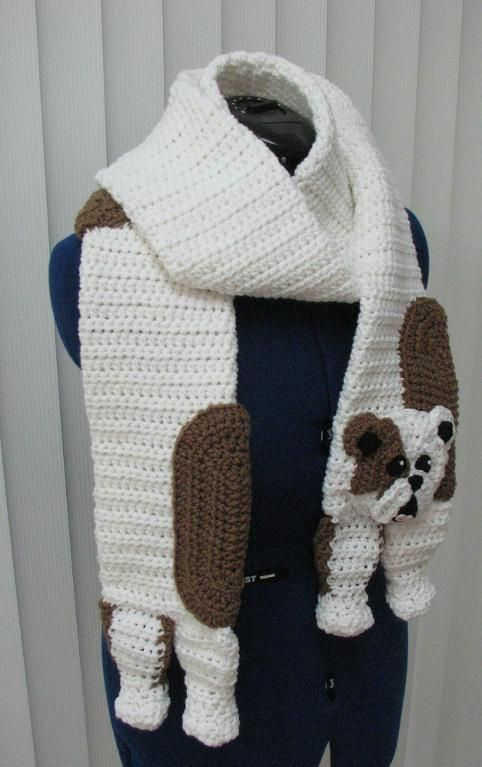 Bull Dog Scarf and Tote Set_e_0I8i - via @Craftsy | Crochet ...